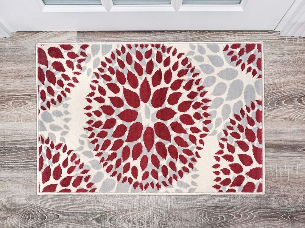 red and white floral circle area rug