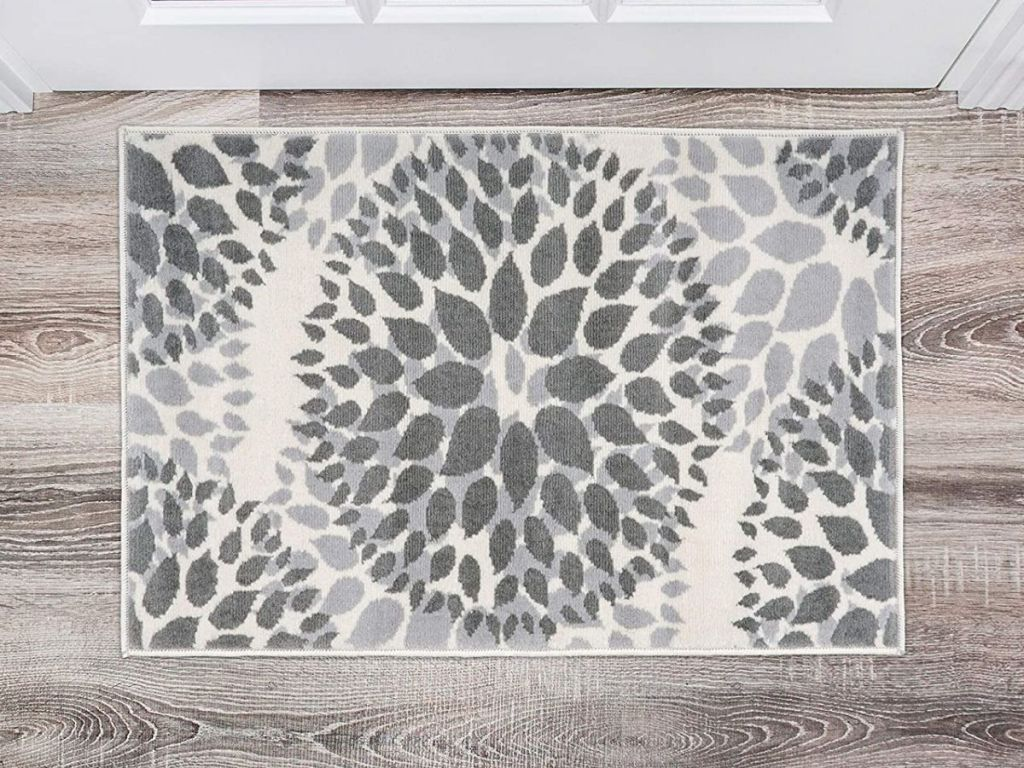gray floral circles area rug