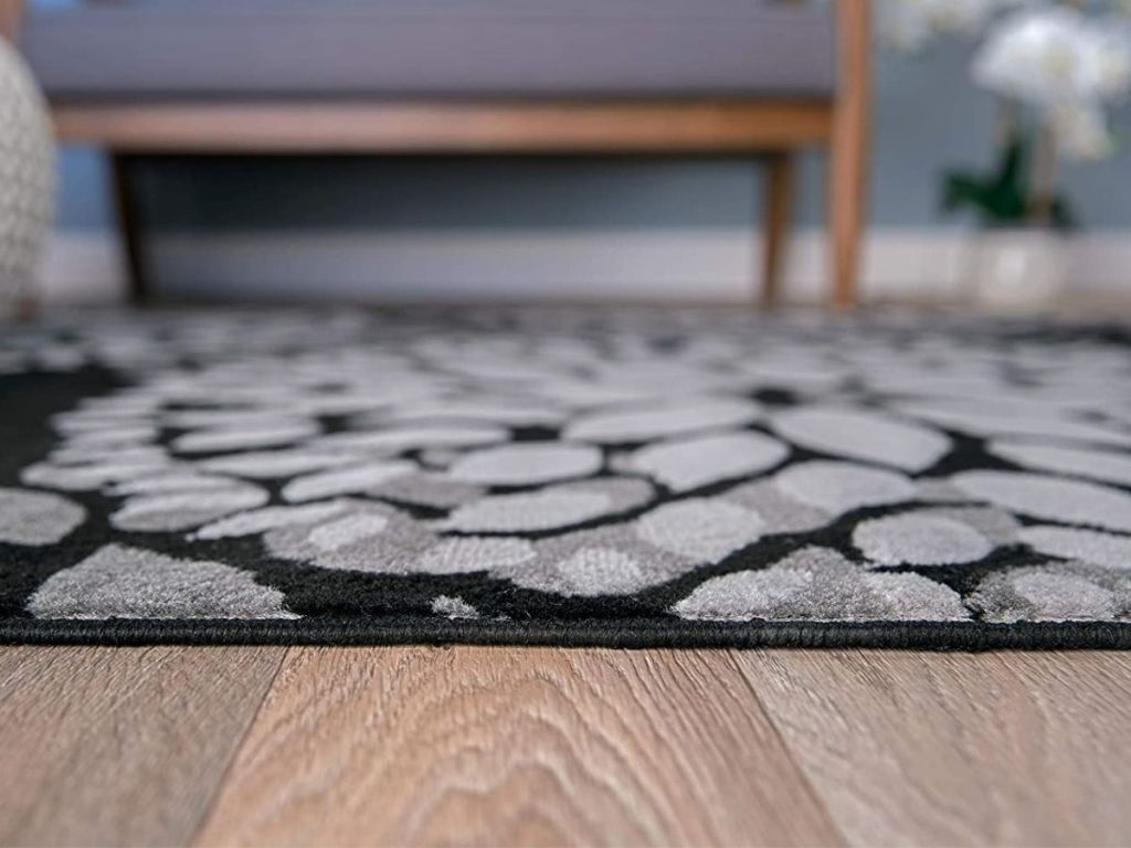 black and gray area rug
