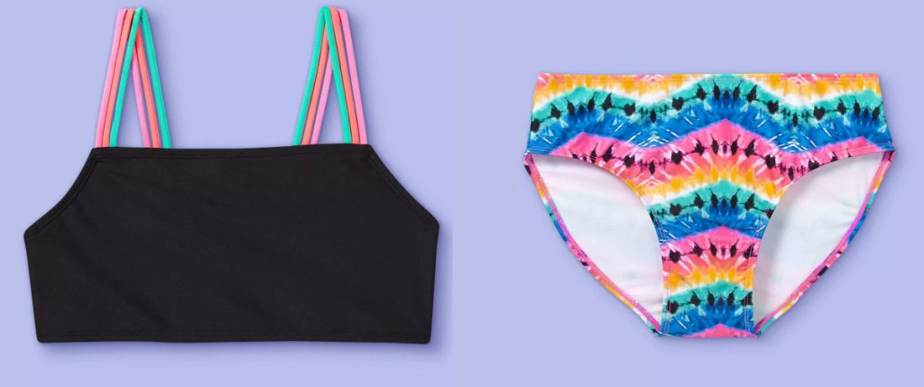 girls black bikini top and rainbow bottoms