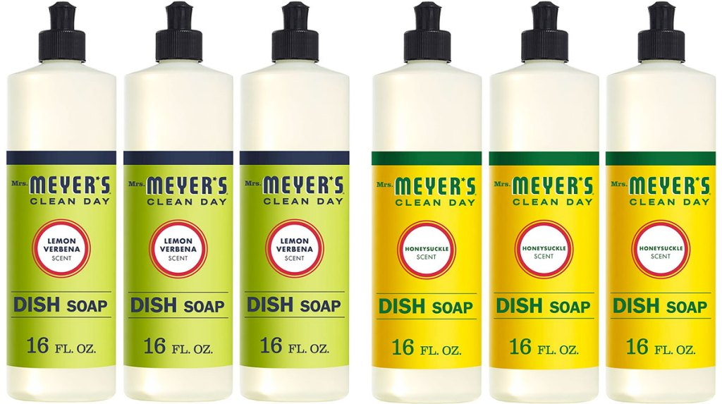 two 3-packs of mrs meyers dish soap in lemon and honeysuckle scents