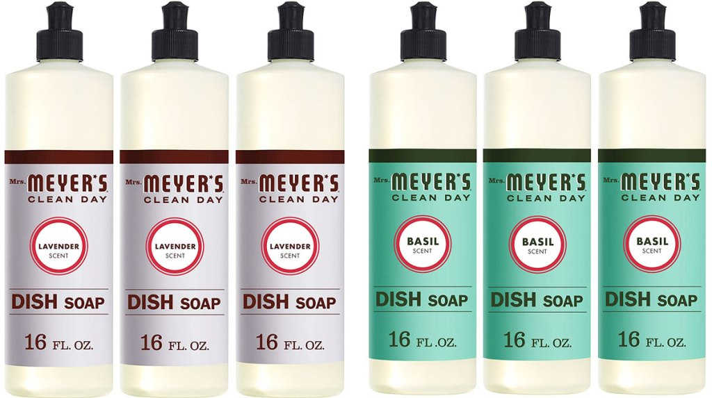 two 3-packs of mrs meyers dish soap in lavender and basil scents