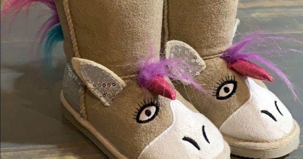 pair of Muk Luks Girls Unicorn Boots