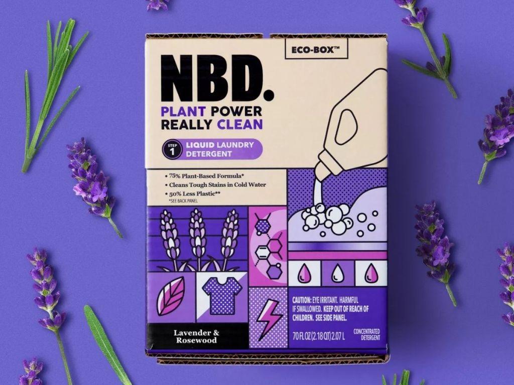 NBD Laundry Detergent on purple background