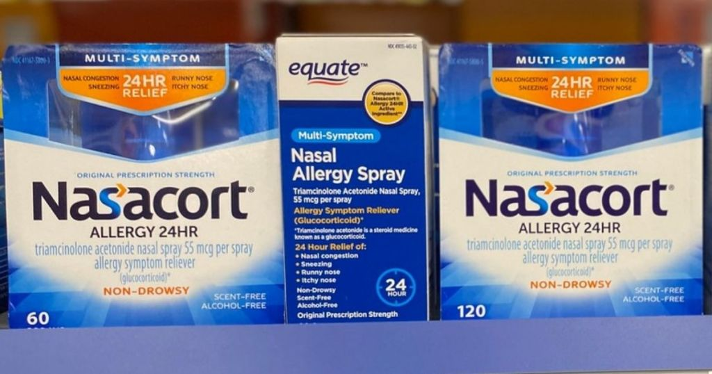 Nasacort Allergy 24HR Sprays on shelf in store