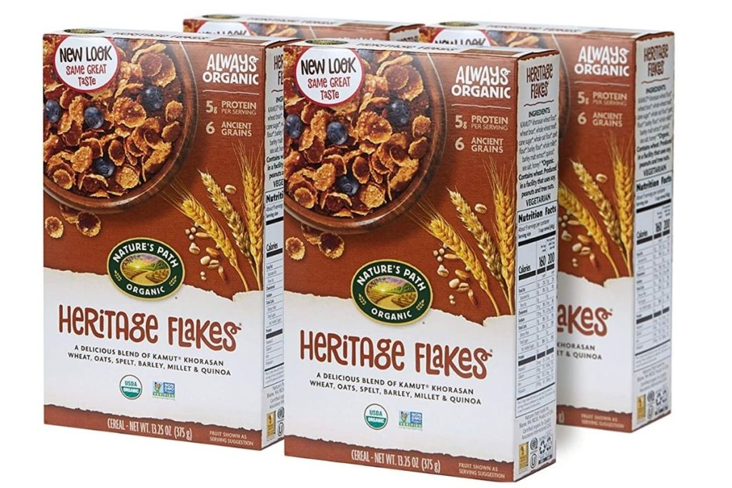 4 boxes of Nature's Path Organic Heritage Flakes