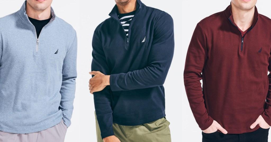 3 men wearing nautica 1/2 zip pullovers
