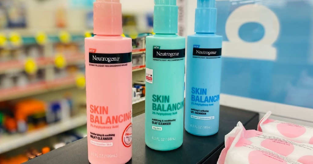 Neutrogena Skin Balancing cleaner in various colors at a store
