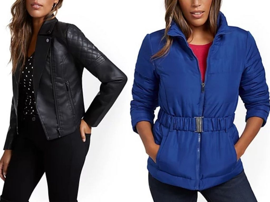 New York & Co Moto Jacket and belted puffer jacket on model
