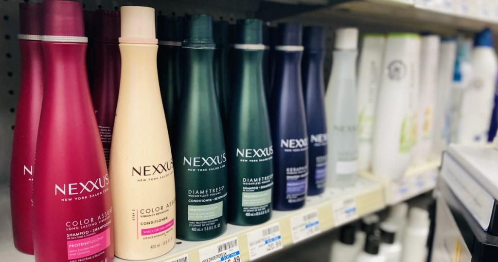 shampoo bottles on shelf