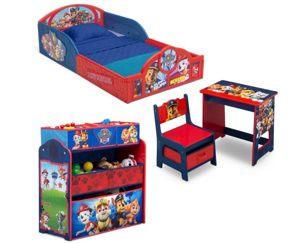 Paw Patrol themed kids bedroom set