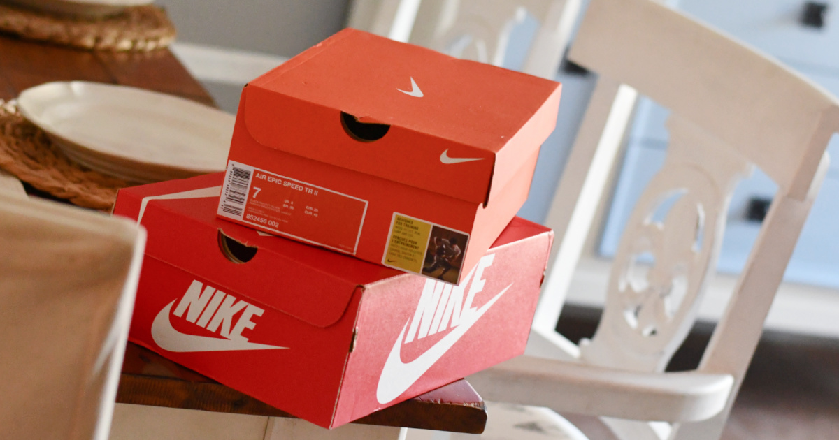 Two boxes of Nike shoes, stacked