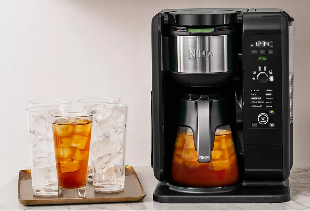 Ninja Coffee and Tea Maker with a tray of cups next to it