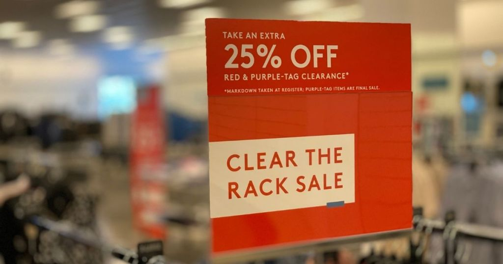 Nordstrom Clear the Rack Sale sign