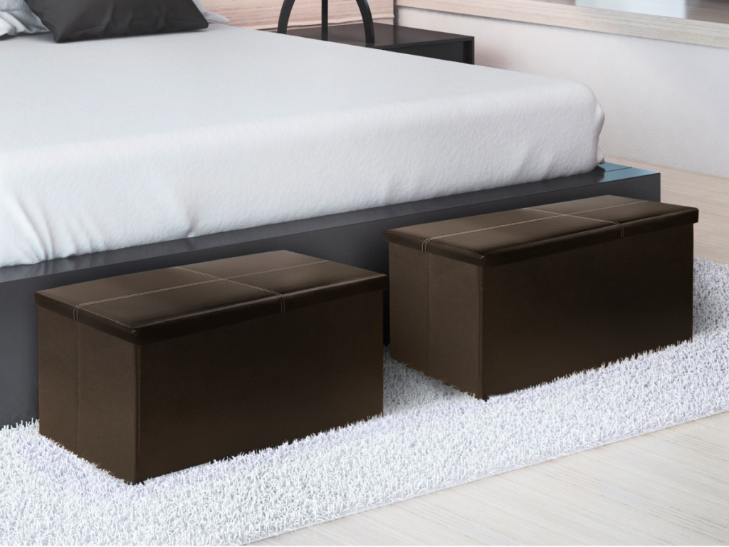 Otto & Ben Folding Faux Leather Trunk/Ottoman Bench with Memory Foam