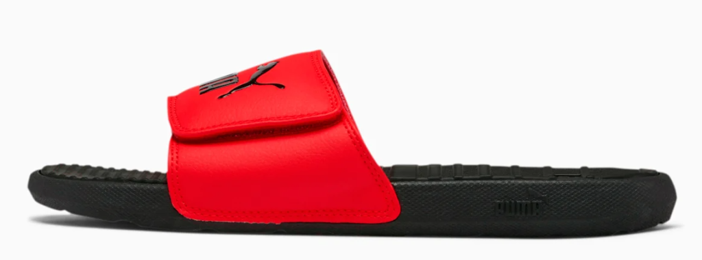 red and black sandal