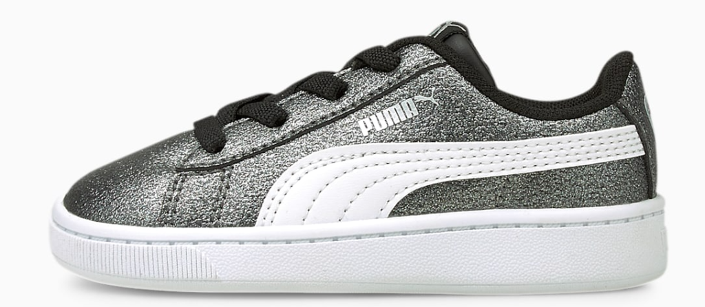 black glitter and white sneakers