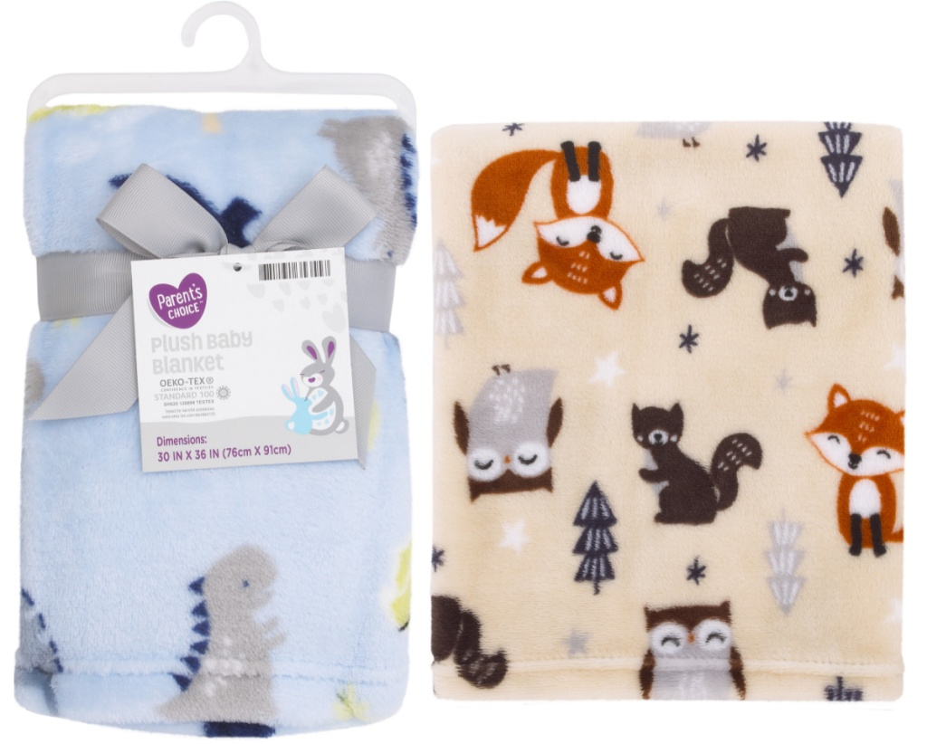 Two plush baby blankets