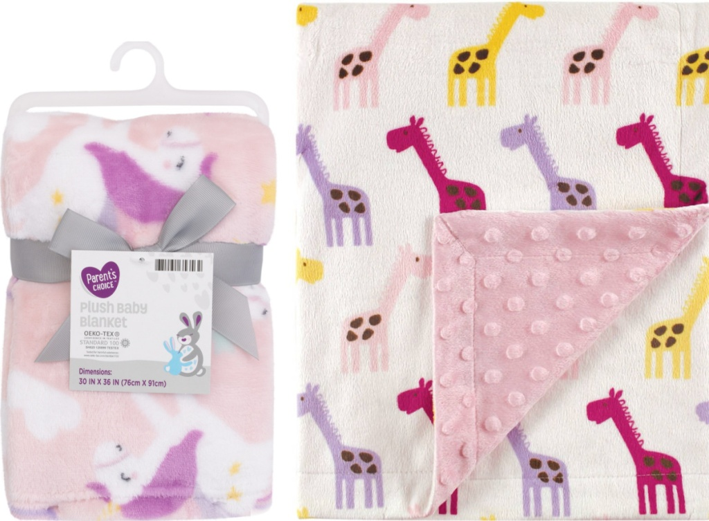 Parents Choice brand blankets in two prints - unicorn and giraffe