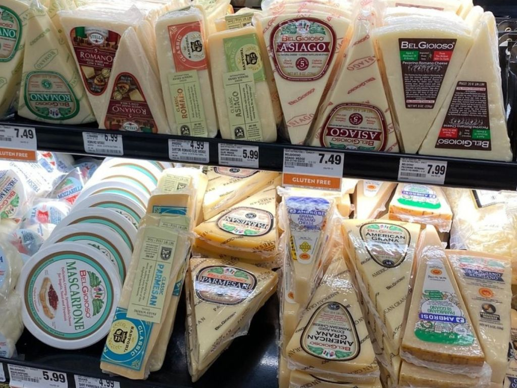 Parmesan Cheese on shelf at Grocery Store