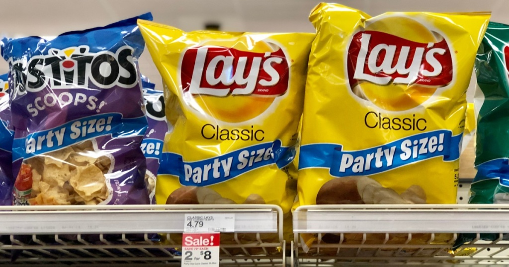 multple bags of party size lays at target