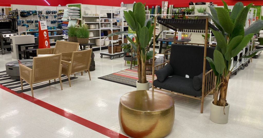 outdoor staged section at store