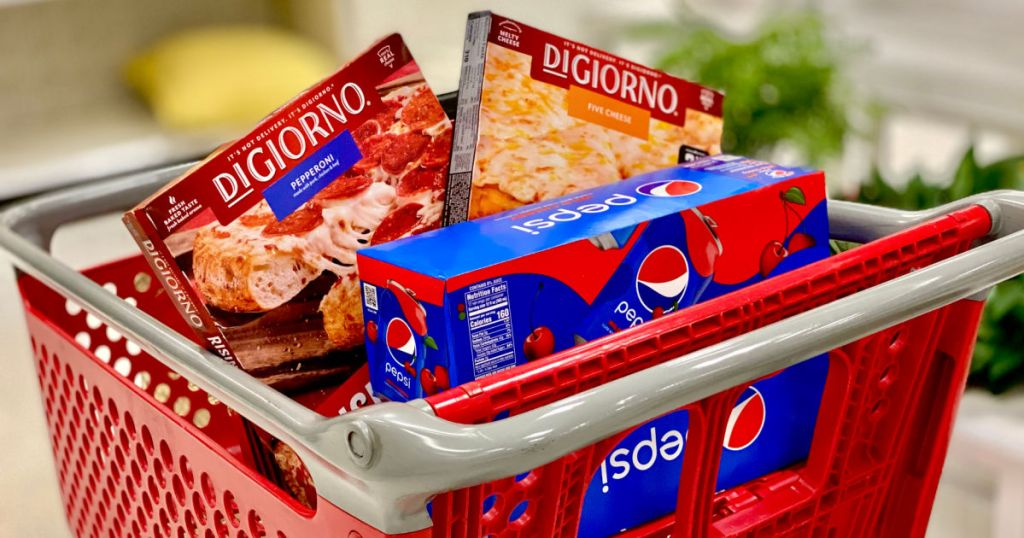 frozen pizza and soda in cart