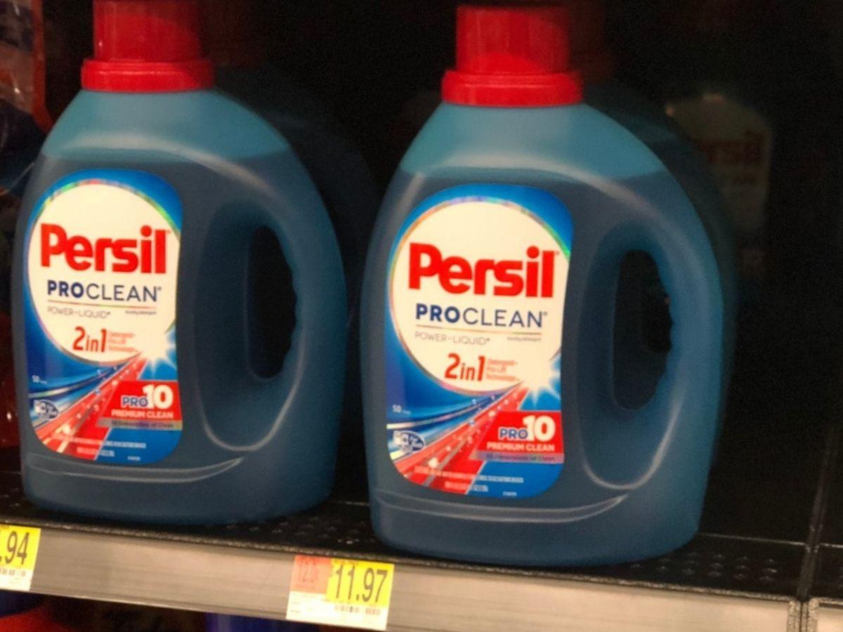 two Persil Proclean 100oz Bottles on a store shelf
