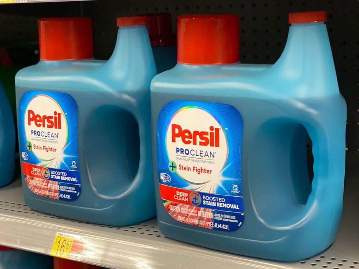 two Persil Pro-Clean 75 load laundry detergents on a store shelf