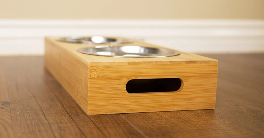 end view of Personalized Dog & Cat Feeding Stands with Bowls