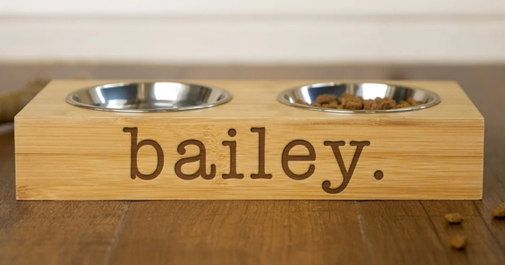 Personalized Dog & Cat Feeding Stands with Bowls