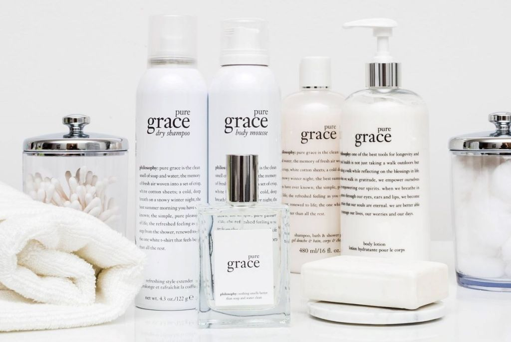 row of Philosophy Pure Grace Products on bathroom counter