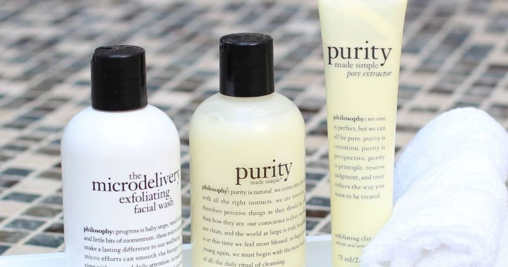 three bottles of philosophy face products