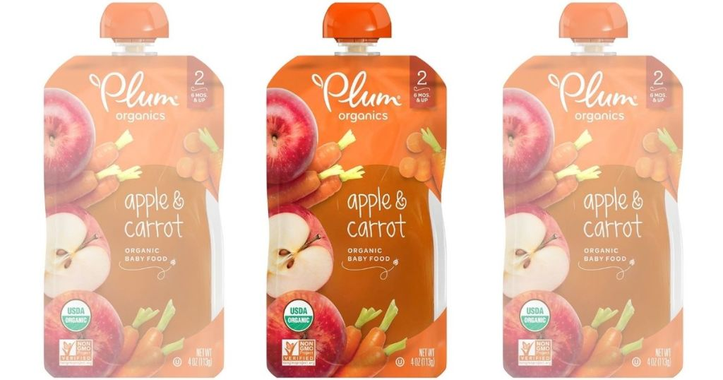3 Plum Organics Stage 2 Apple & Carrot Pouches