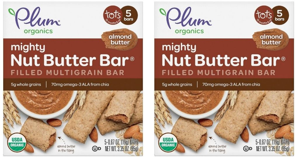 2 Plum Organics mighty nut butter bar boxes