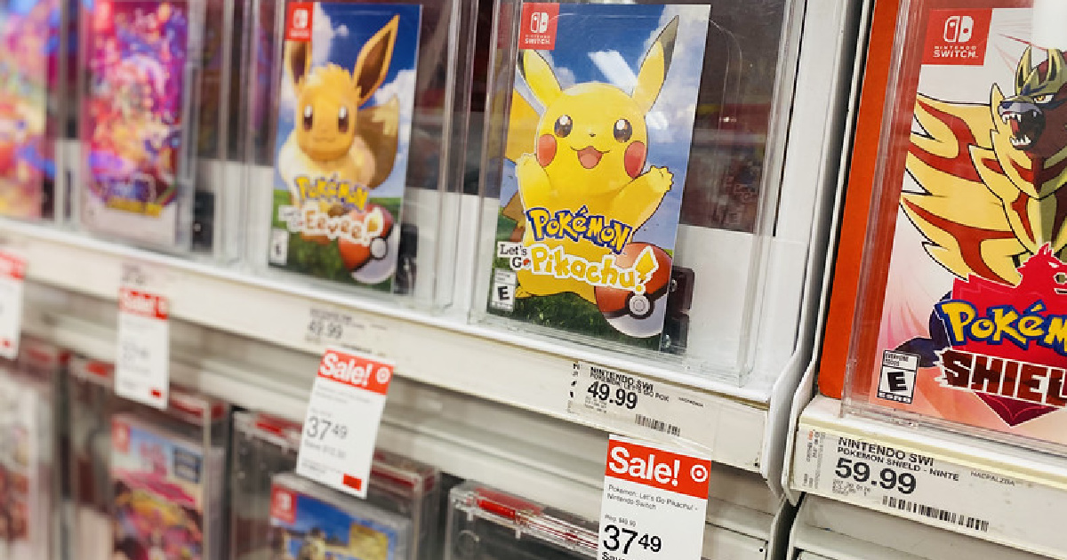 Pokemon Nintendo Switch Games on Target display shelf