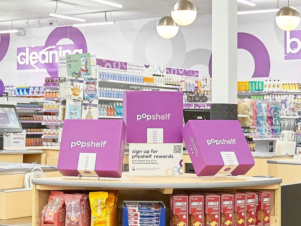 purple rewards boxes at pOpshelf store