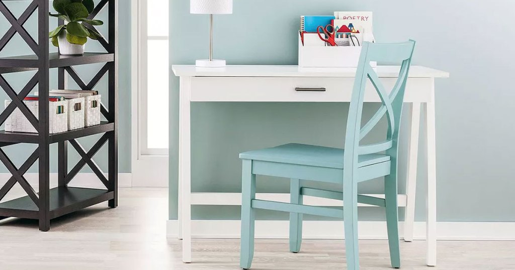 white desk with blue chair