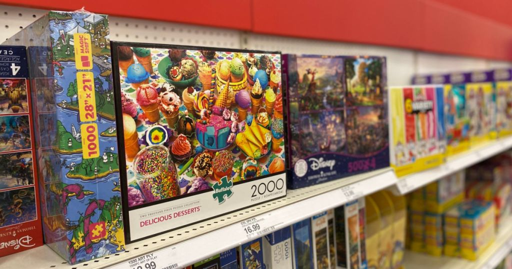 puzzles on shelf