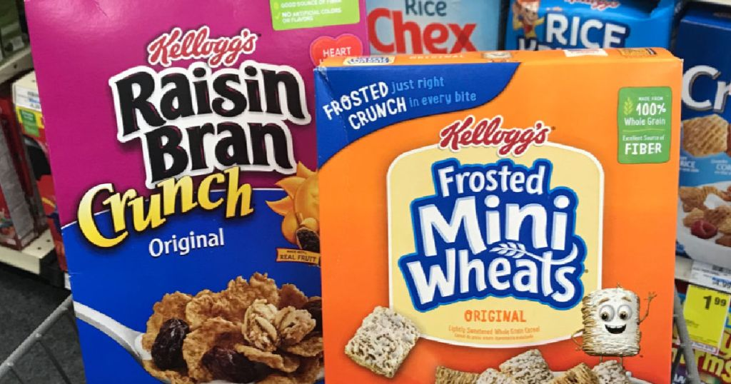 two boxes of cereal in cart