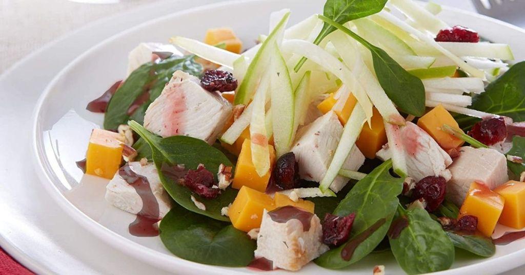 Salad dressed with Raspberry Walnut Vinaigrette