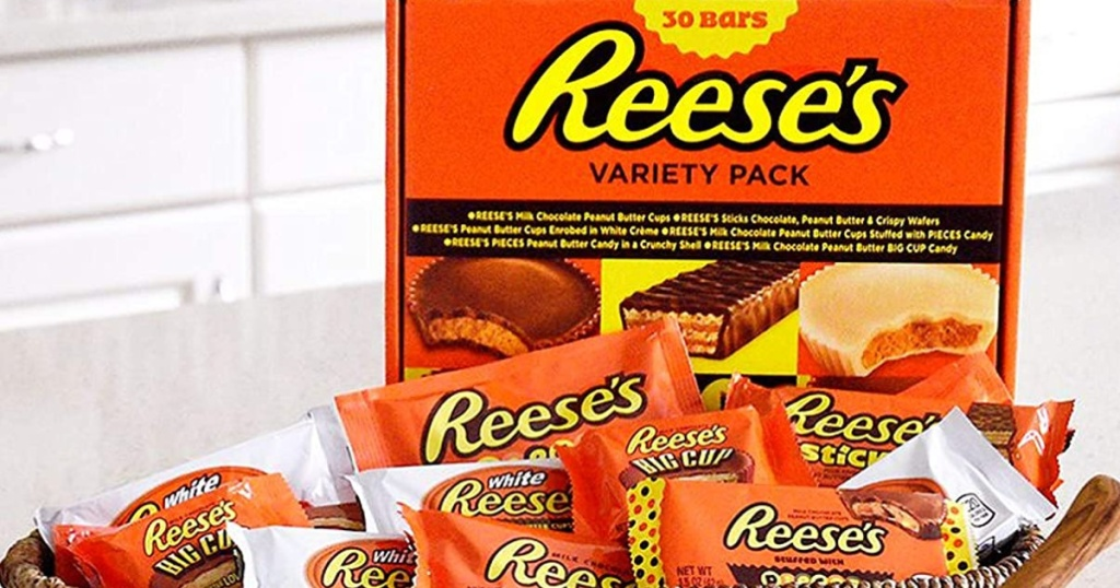 Reese's chocolate 30 count variety pack on a kitchen counter