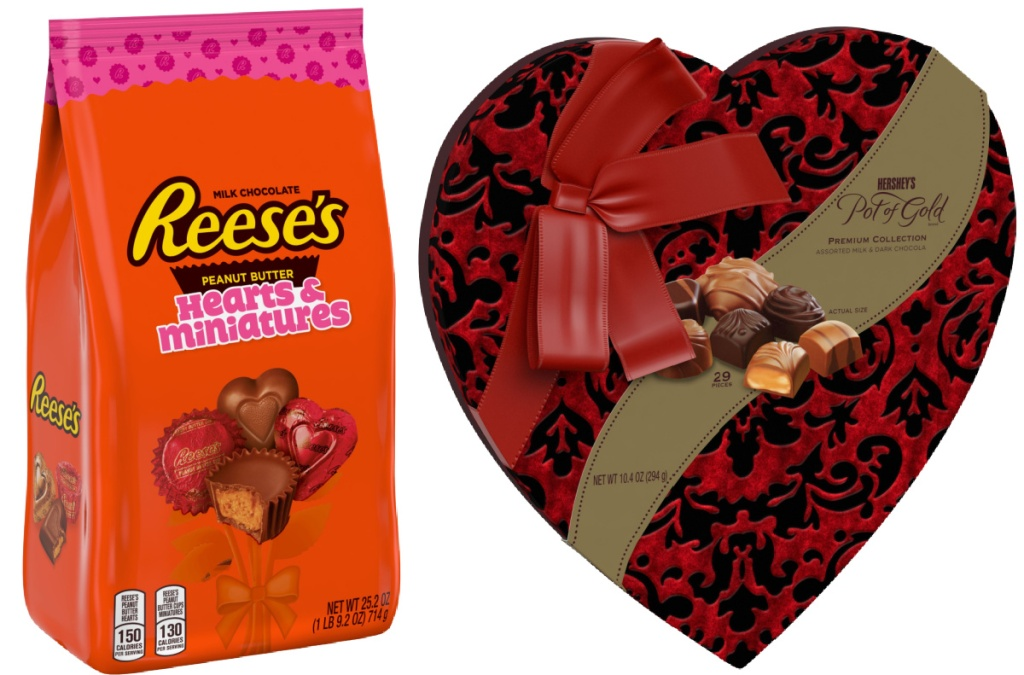 Reese's Hearts and Miniatures Valentine's Day 25.2-Ounce Variety Bag and Hershey's Pot of Gold Milk and Dark Chocolate Premium Valentine's Day Heart Box