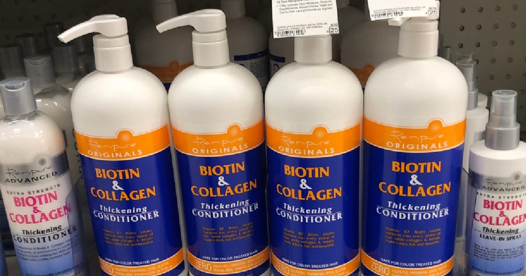 bottles of conditioner on store shelf