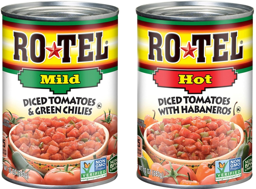 Two cans of Rotel in different flavors