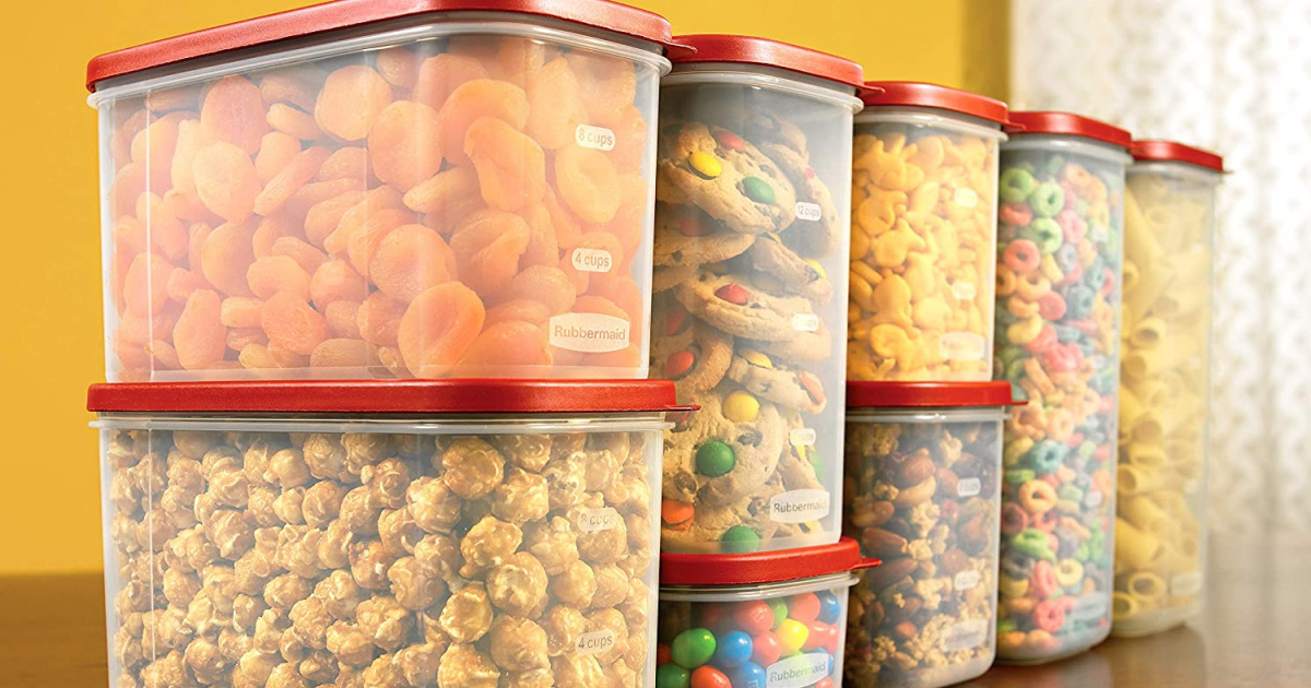 snacks packaged in reusable air tight containers with red plastic lids