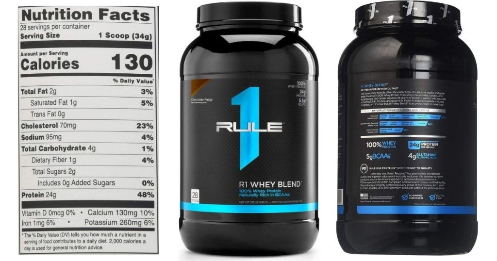 2 views and a label of Rule 1 Whey Blend Protein