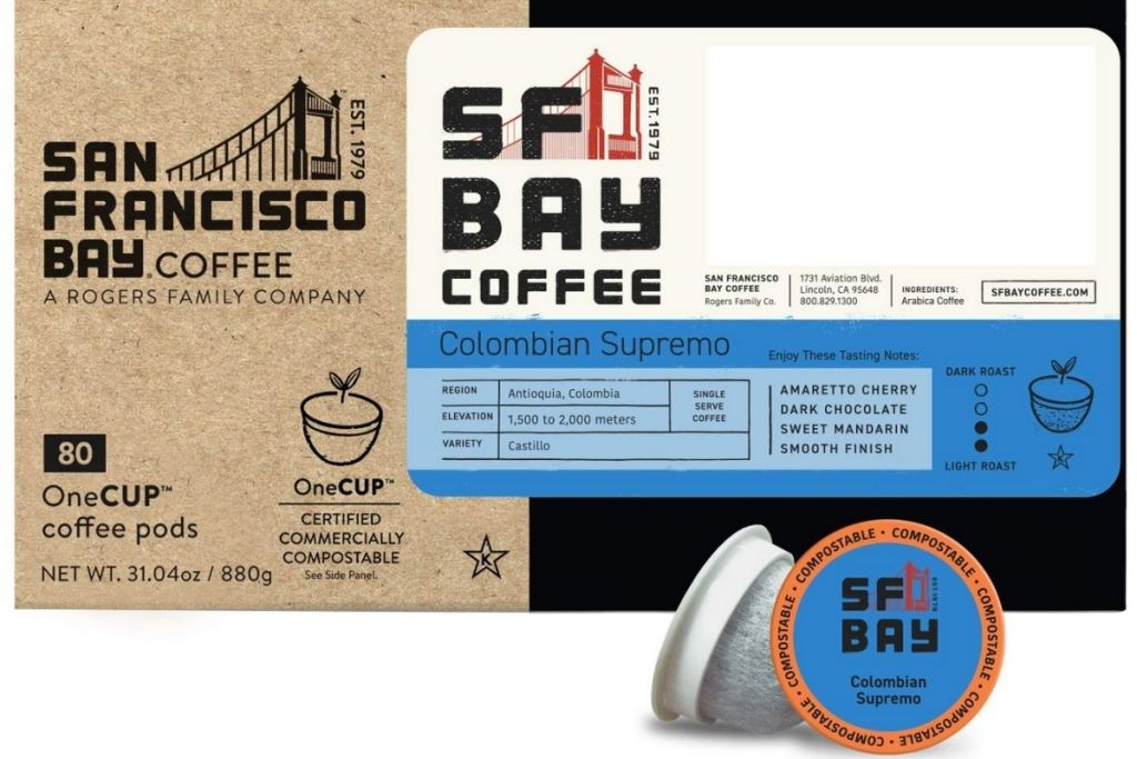 SF Bay Colombian Supremo Coffee Pods packaging