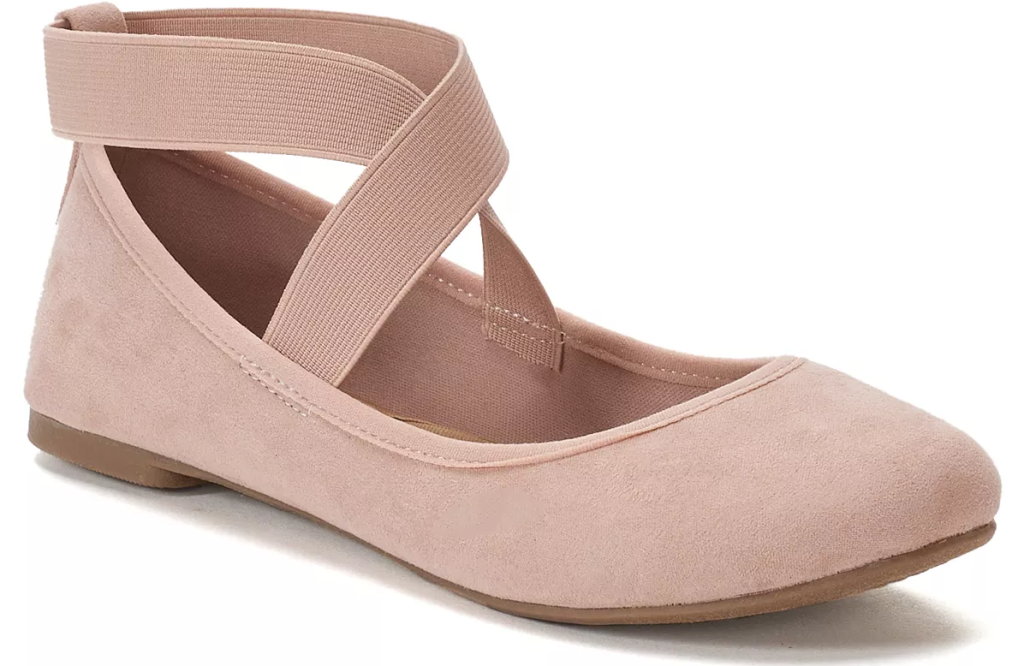 pink ballet flat with stripes