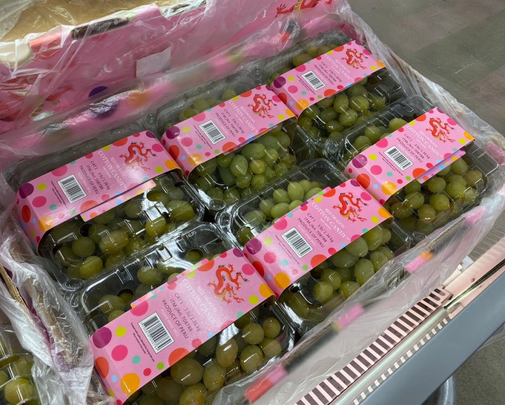 Cotton candy flavored grapes in a grocery store